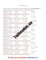 56 câu bài tập PHÁT âm từ đề các TRƯỜNG KHÔNG CHUYÊN  image marked image marked