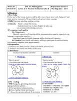 Giáo án môn Tiếng Anh lớp 6  Unit 14: Making plans