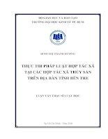 Thực thi pháp luật hợp tác xã tại các hợp tác xã thủy sản trên địa bàn tỉnh bến tre