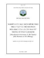 Nghiên cứu đặc điểm hình thái thực vật và thành phần hóa học của lá cây Bao tử trồng ở tỉnh Nam Định Murdannia bracteata (C.B.Clarke) J.K.Morton ex D.Y.Hong