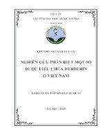Nghiên cứu phân biệt một số dược liệu chứa berberin ở Việt Nam