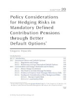 Chapter 20  policy considerations for hedging risks in mandatory defined contribution pensions through better default options