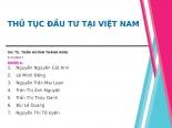 THỦ TỤC ĐẦU TƯ TẠI VIỆT NAM ( INVESTMENT PROCEDURES IN VIETNAM)