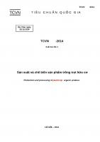 TCVN dự thảo 2014 sản xuất và chế biến sản phẩm trồng trọt hữu cơ