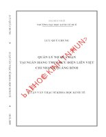 Quản lý nợ quá hạn tại Ngân hàng TMCP Bưu Điện Liên Việt - Chi nhánh Quảng Bình