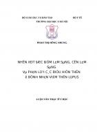 NHẬN xét đặc điểm lâm SÀNG, cận lâm SÀNG và PHÂN LOẠI các BIỂU HIỆN THẬN ở BỆNH NHÂN VIÊM THẬN LUPUS