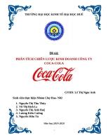 Môn quản trị chiến lược: Phân tích và xây dựng chiến lược kinh doanh công ty CocaCola