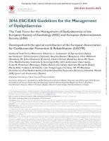 ESC dyslipidemia 2016 khotailieu y hoc