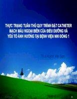 THỰC TRẠNG TUÂN THỦ QUY TRÌNH ĐẶT CATHETER MẠCH MÁU NGOẠI BIÊN CỦA ĐIỀU DƯỠNG