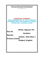 Some experiences to teach english listening skill for students in grade 4 in dien bien 1 primary school