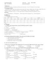 Đề kiểm tra 1 tiết lần 1 Tiếng Anh 7  Chương trình mới + CD