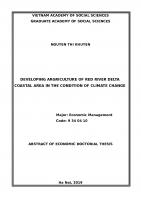 Phát triển nông nghiệp vùng ven biển đồng bằng sông hồng trong điều kiện biến đổi khí hậu tt tiếng anh