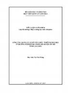 tIỂU LUẬN QUẢN lý GIÁO dục CÔNG tác QUẢN lý cơ sở vật CHẤT –THIẾT bị dạy học ở TRƯỜNG THCS PHÌN hồ HUYỆN sìn hồ TỈNH LAI CHÂU
