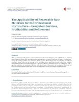 The Applicability of Renewable Raw Materials for the Professional Horticulture - Ecosystem Services, Profitability and Refinement