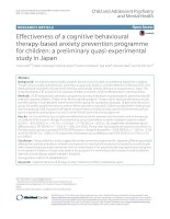 Effectiveness of a cognitive behavioural therapy-based anxiety prevention programme for children: A preliminary quasi-experimental study in Japan