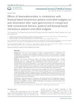Effects of dexmedetomidine in combination with fentanyl-based intravenous patient-controlled analgesia on pain attenuation after open gastrectomy in comparison with conventional thoracic