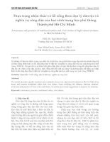 Thực trạng nhận thức và lối sống theo đạo lý dân tộc và nghĩa vụ công dân của học sinh trung học phổ thông Thành phố Hồ Chí Minh