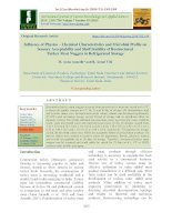 Influence of physico – chemical characteristics and microbial profile on sensory acceptability and shelf stability of restructured turkey meat nuggets in refrigerated storage
