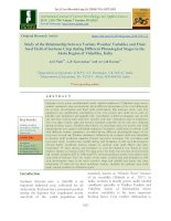 Study of the relationship between various weather variables and final seed yield of soybean crop during different phenological stages in the Akola region of Vidarbha, India