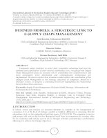 Business models: A strategic link to e supply chain management