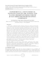 Experimental and numerical investigation on the tensile and water absorption behavior of jute carbon reinforced epoxy composite
