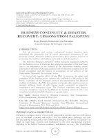 Business continuity & disaster recovery: lessons from Palestine