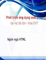 Bài giảng Phát triển ứng dụng web 1: Ngôn ngữ HTML – ĐH Sài Gòn