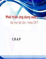 Bài giảng Phát triển ứng dụng web 1: C.R.A.P – ĐH Sài Gòn