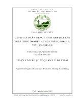 Đánh giá phân hạng thích hợp đất sản xuất nông nghiệp huyện Trùng Khánh, tỉnh Cao Bằng (Luận văn thạc sĩ)