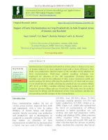 Impact of farm mechanization on crop productivity in sub-tropical areas of Jammu and Kashmir