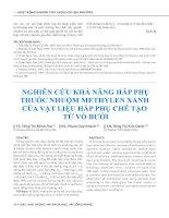 Nghiên cứu khả năng hấp phụ thuốc nhuộm methylen xanh của vật liệu hấp phụ chế tạo từ vỏ bưởi