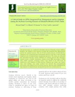 A critical study on (IPM) integrated pest management and its adoption among the soybean growing farmers of Khandwa district of M.P, India