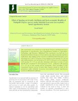 Effect of spacing on growth attributes and socio-economic benefits of marigold (Tagetes species) under Subabul (Leucaena leucocephala) based agroforestry system