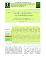 Integrated nutrient management - An effective approach for sustainable agriculture in Chhattisgarh: A review