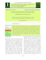 Sensorial and microbial study of mushroom pickle