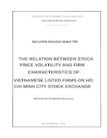 The relation between stock price volatility and firm characteristics of vietnamese listed firms on ho chi minh city stock exchange luận văn thạc sĩ