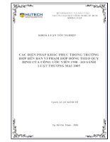 Các biện pháp khắc phục trong trường hợp bên bán vi phạm hợp đồng theo quy định của công ước vienna 1980   so sánh luật thương mại 2005