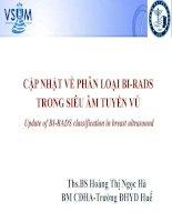 Bài giảng Cập nhật về phân loại BI-RADS trong siêu âm tuyến vú (Update of BI-RADS classification in breast ultrasound) - ThS.BS Hoàng Thị Ngọc Hà