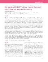 Xét nghiệm ADN HPV và test Hybrid Capture 2 trong sàng lọc ung thư cổ tử cung