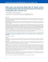 Hiệu quả của phương pháp gây tê ngoài màng cứng bằng hỗn hợp Levobupivacaine và Fentanyl trong giảm đau chuyển dạ