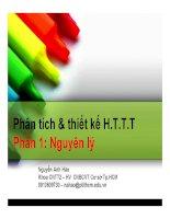Bài giảng Phân tích và thiết kế hệ thống thông tin: Phần 1 - Nguyễn Anh Hào