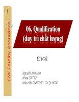 Bài giảng Software quality assurance: Qualification - Nguyễn Anh Hào