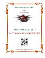 Tuyển tập 40 đề thi thử vào lớp 10 môn toán các trường THCS tại hà nội