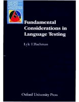 Fundamental considerations in language testing (Lyle F. Bachman) - Oxford Applied Linguistics