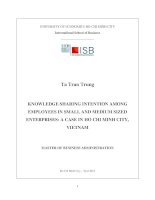 Knowledge sharing intention among employees in small and medium sized enterprises: a case in Ho Chi Minh City Viet Nam