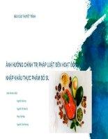 Marketing quốc tế  Thực phẩm bổ sung