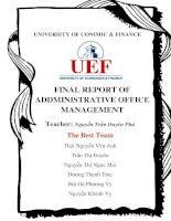 Báo cáo môn Quản trị Văn phòng: Cách quản trị hành chính văn phòng của công ty